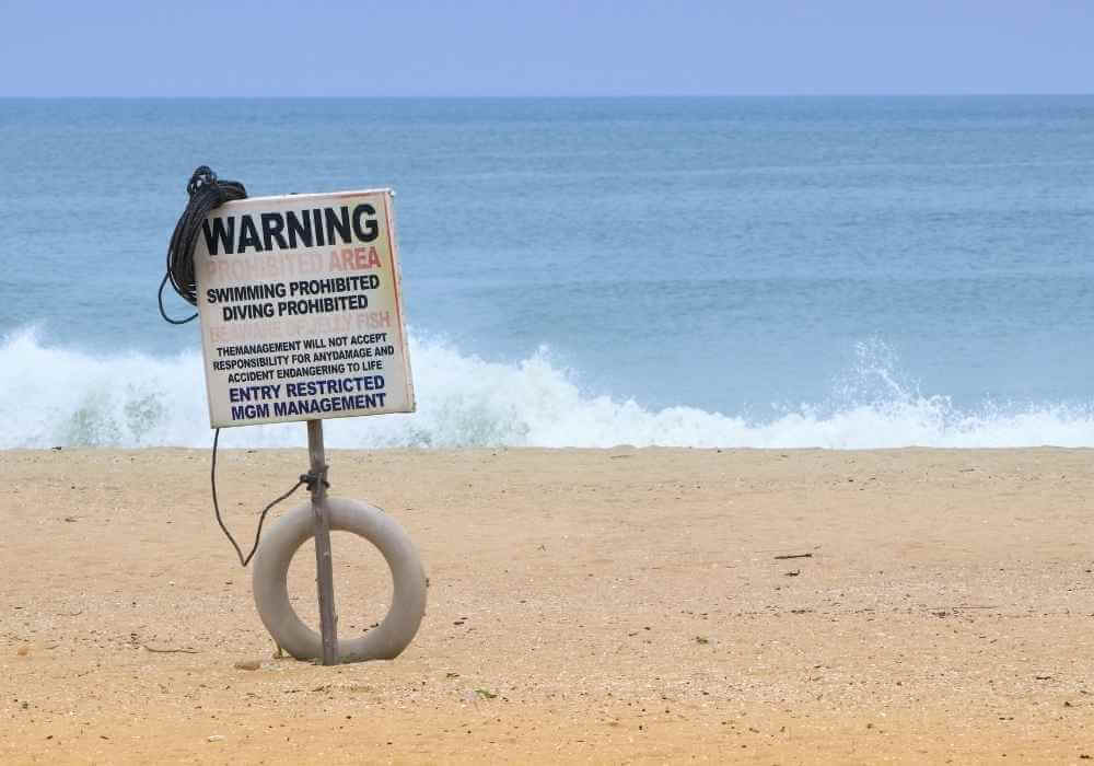 Water safety sign at beach